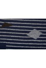 Gestrickter Wollstoff Streifen Kubic Marine