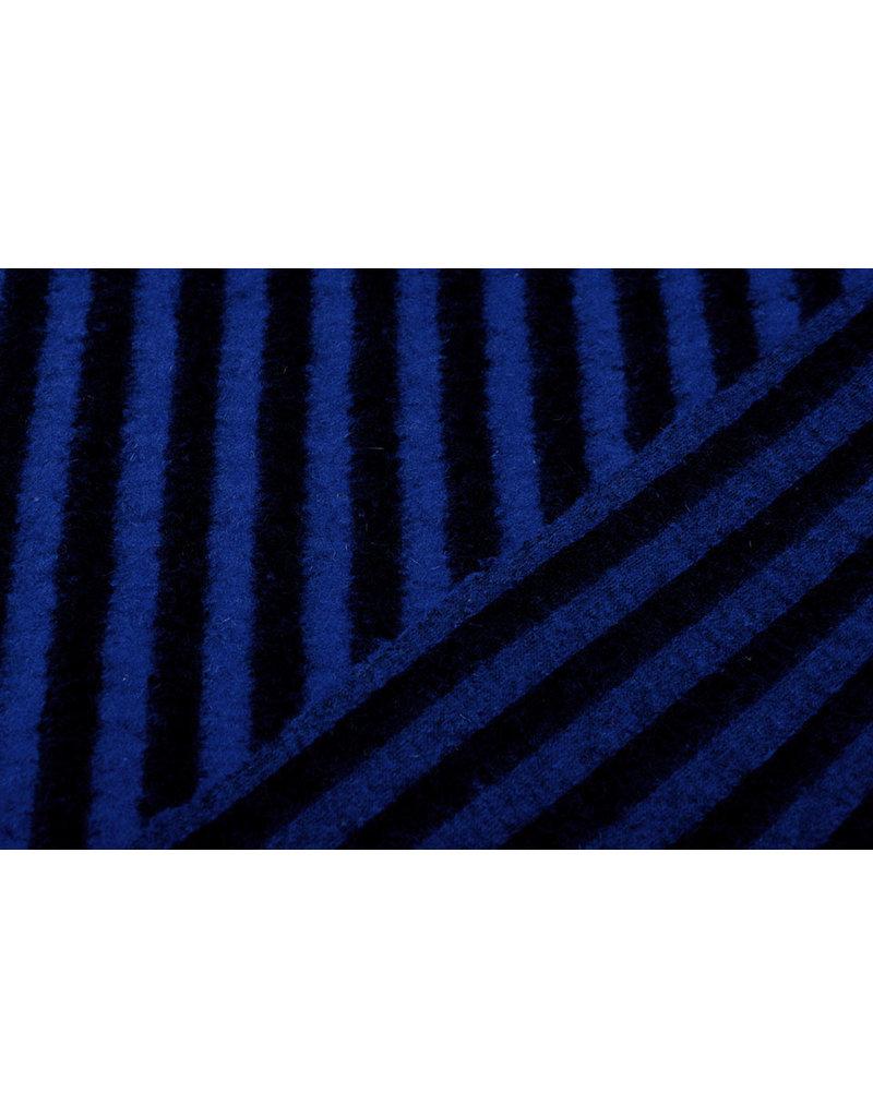 Gestrickter Wollstoff Streifen Konings Blau