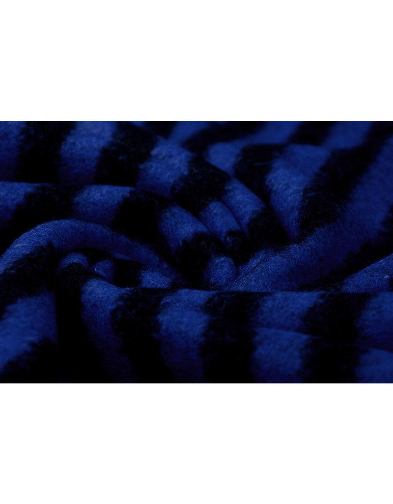 Gestrickter Wollstoff Streifen Koningsblau