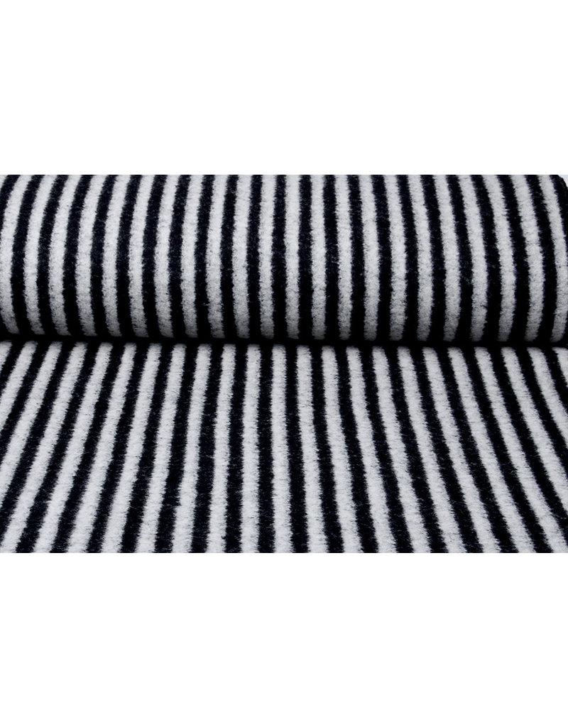 Gestrickter Wollstoff Streifen Grau