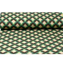 Knitted Woolen fabric Tartan Green Yellow