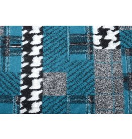 Knitted Woolen fabric Quilt look houndstooth Petrol Blue