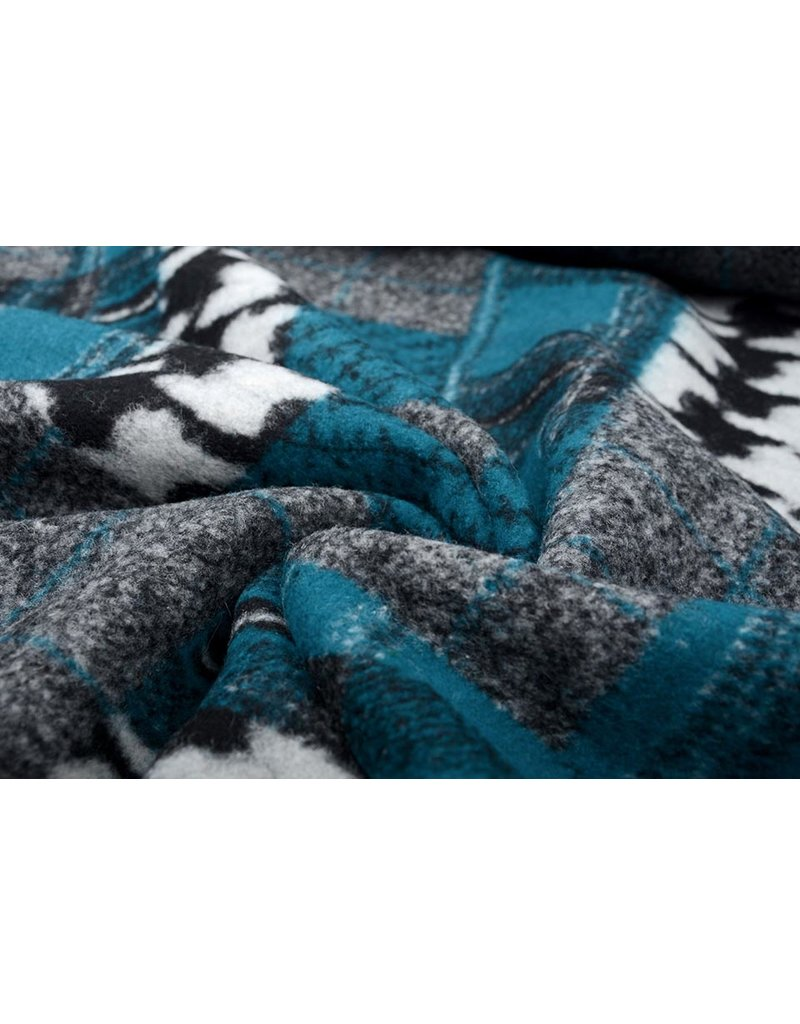 Gebreide Wollen stof Quiltlook Pied-de-poule Petrol Blauw