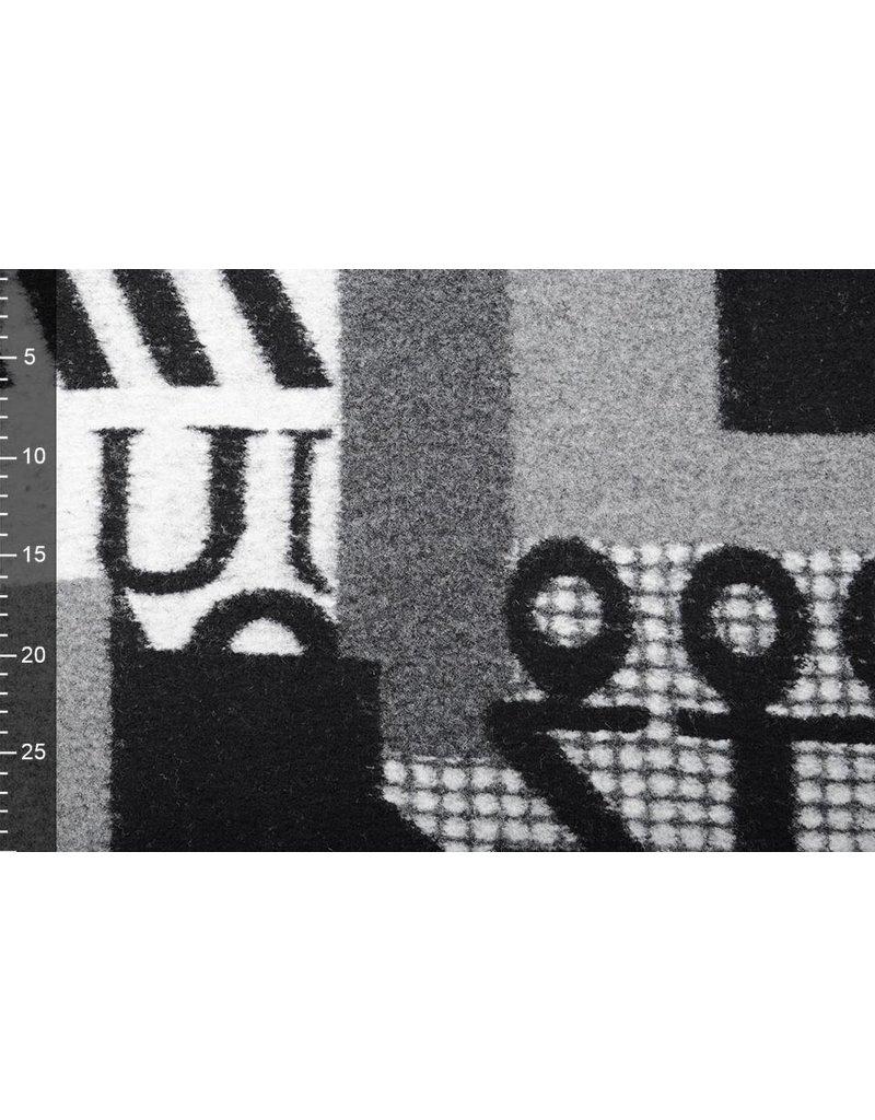 Gestrickter WollStoff Quilt Look Zahlen schwarz grau