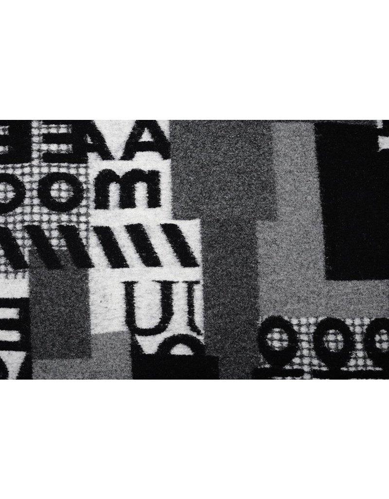 Gebreide Wollen stof Quiltlook Nummers Zwart Grijs