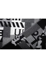 Knitted Woolen fabric Quilt look Numbers Black Grey