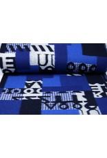 Gebreide Wollen stof Quiltlook Nummers Blauw