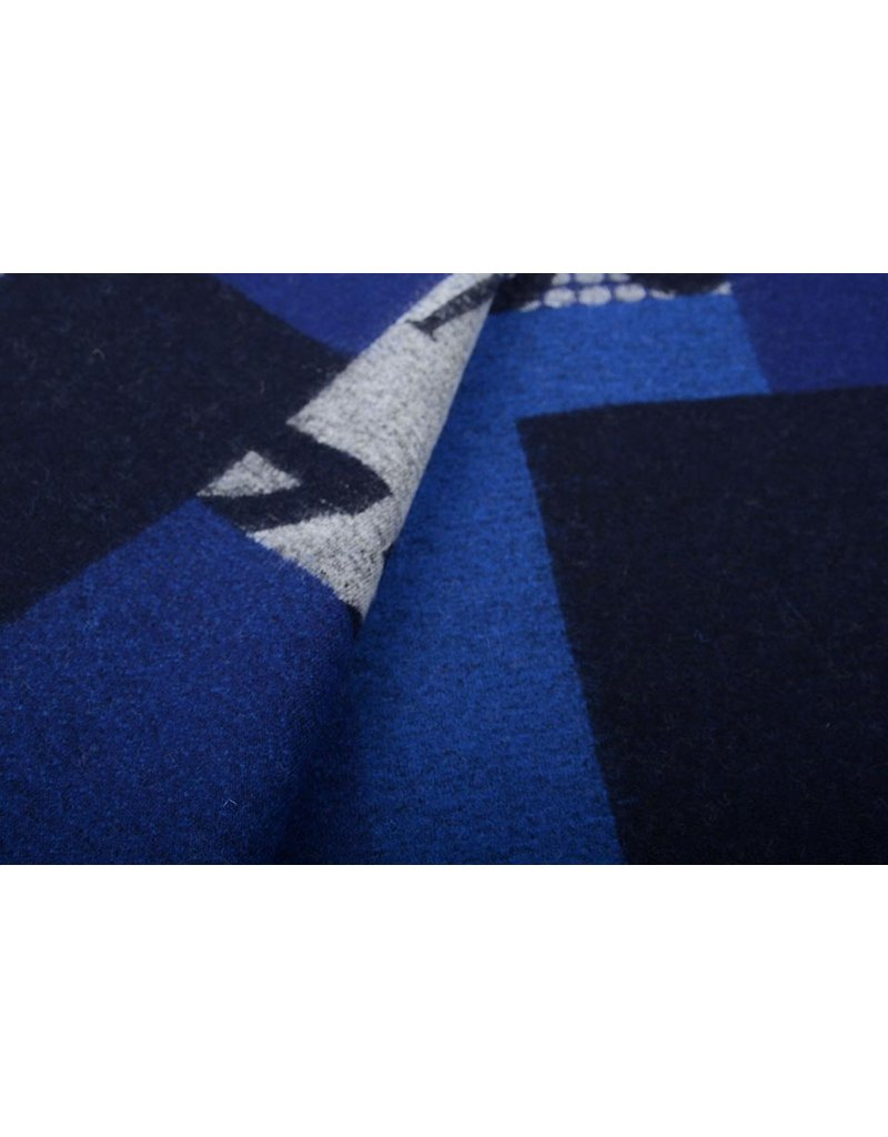 Gestrickter WollStoff Quilt Look Zahlen Blau