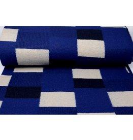 Knitted Woolen fabric Checkered Cobalt Blue
