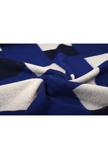 Gebreide Wollen stof Geblokt Kobalt Blauw