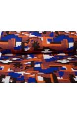 Gebreide Wollen Stof Oranje Blauw
