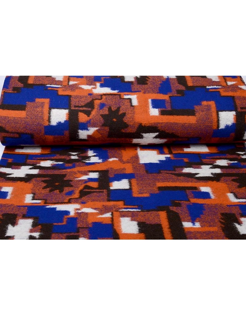 Knitted Woolen Fabric Orange Blue