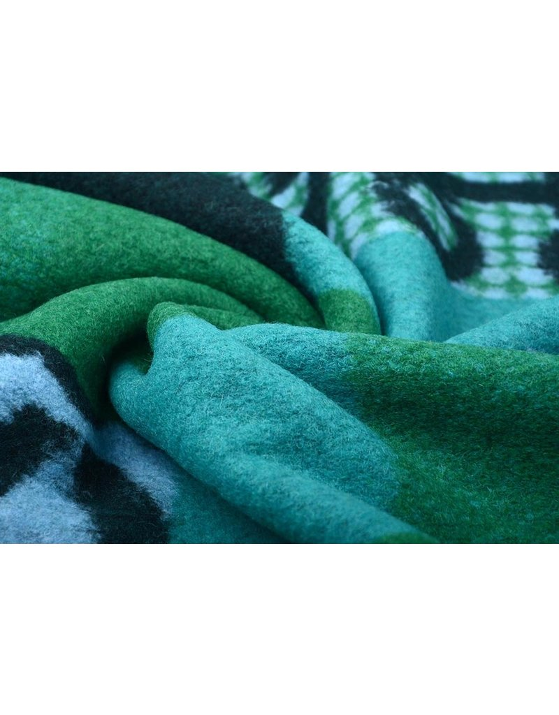 Gestrickter WollStoff Quilt Look Zahlen Grün