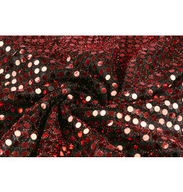 Sequins on Lurex Black-Red