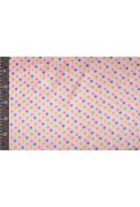 Poly Satijn Roze Stippen Multi