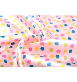 Poly Satin Pink Dots Multi