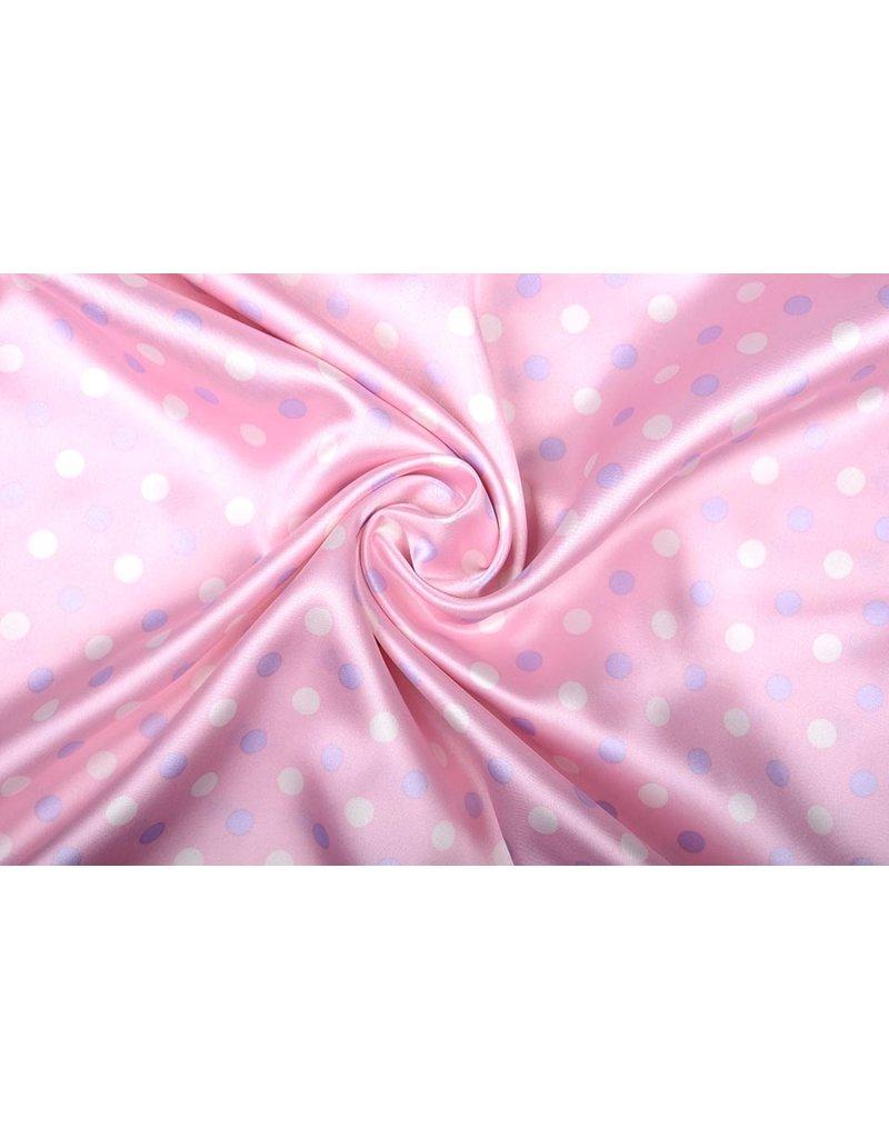 Poly Satijn Roze Stippen Lila Creme