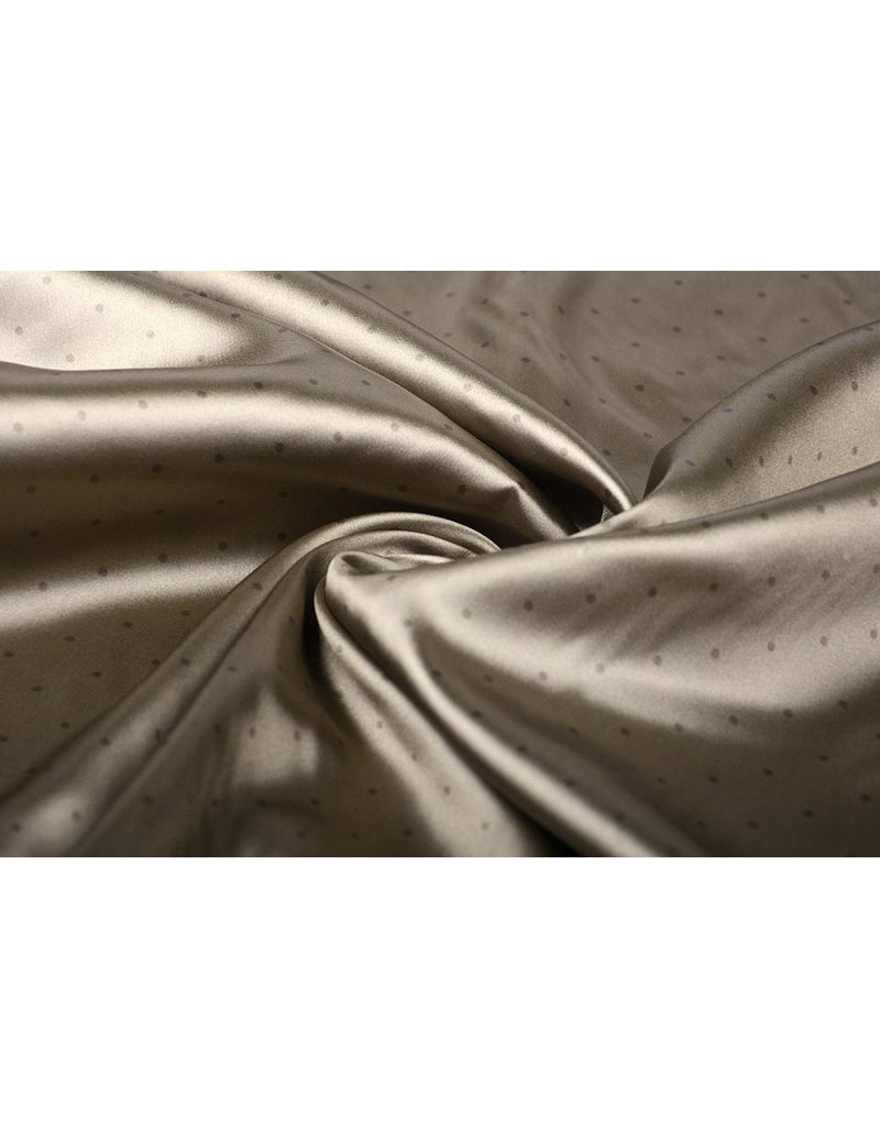 Polyester-Satin Punkte Taupe