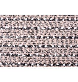 Fancy Bouclé Stripe Black Powder Pink
