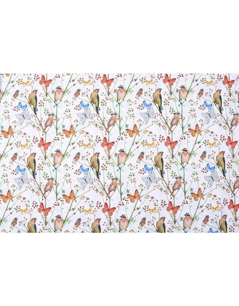 Stenzo 100% Digital Baumwolle Schmetterlingsgarten Weiß