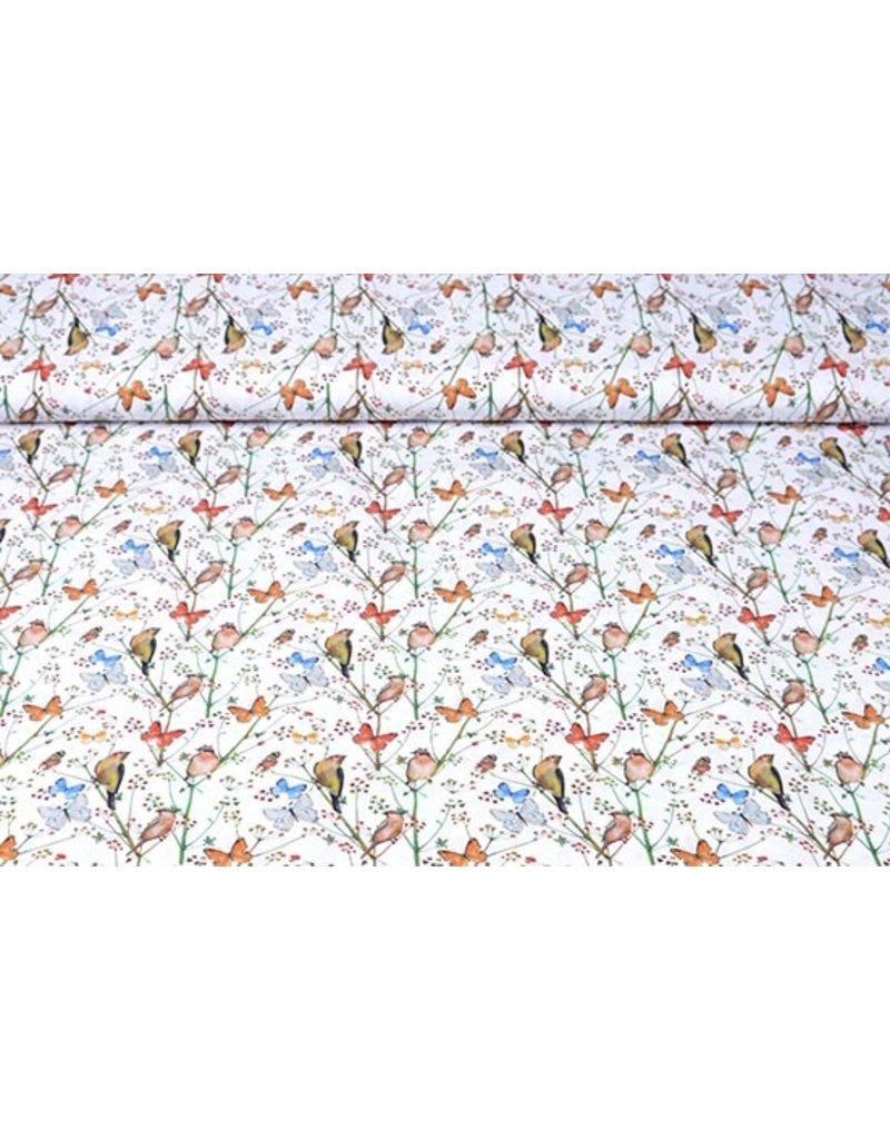 100% Digitaal Katoen Vlindertuin Wit