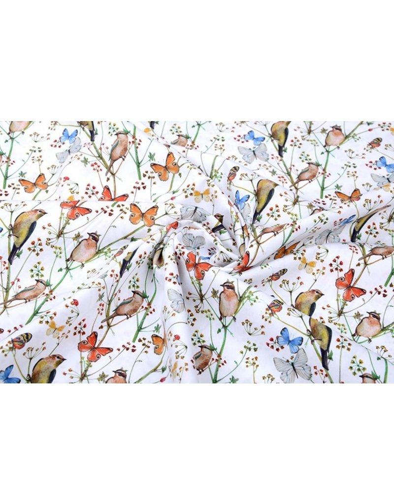 100% Digital Baumwolle Schmetterlingsgarten Weiß
