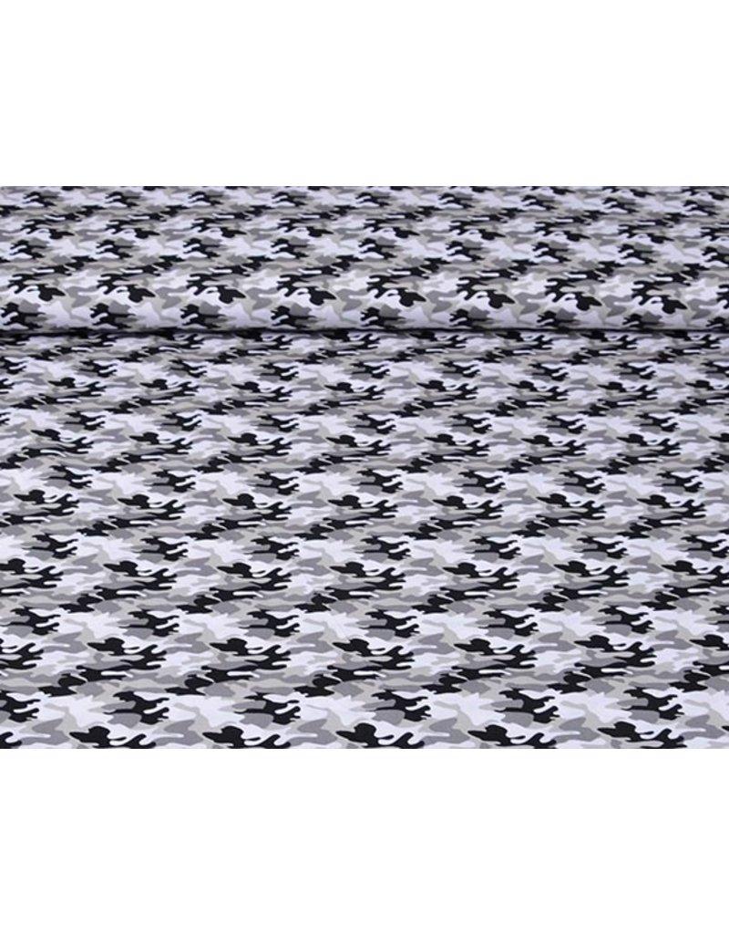 Popeline Camouflage Grau