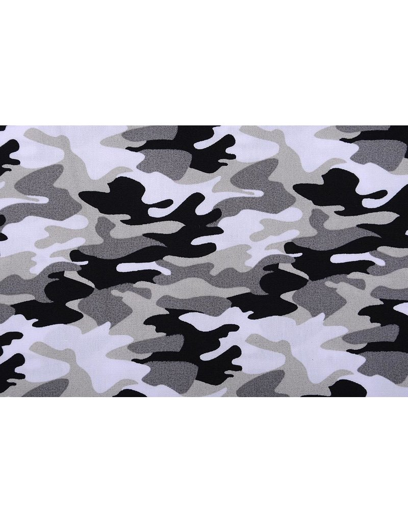Poplin Camouflage Grijs