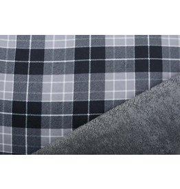 Jogging Curly Teddy Fabric Checkered  Grey