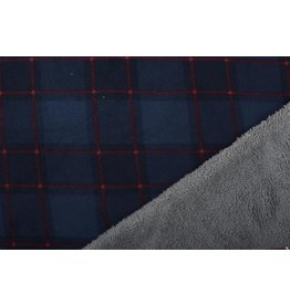 Jogging Curly Teddy Fabric Checkered Navy Red
