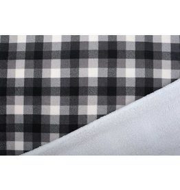 Jogging Curly Teddy Fabric Checkered Small Grey