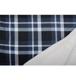 Jogging Curly Teddy Fabric Checkered Navy Creme