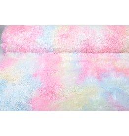 Lange Zottelplüsch Multicolor Pastell
