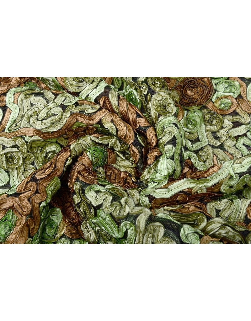 Netz Blume Farbband Grün Mokkabraun