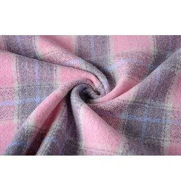 Woolen fabric Tartan Pink Grey