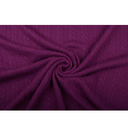 Knitted Cable Fabric Tricot Aubergine