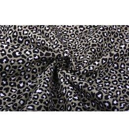 100% Baumwolle Pantherdruck Taupe