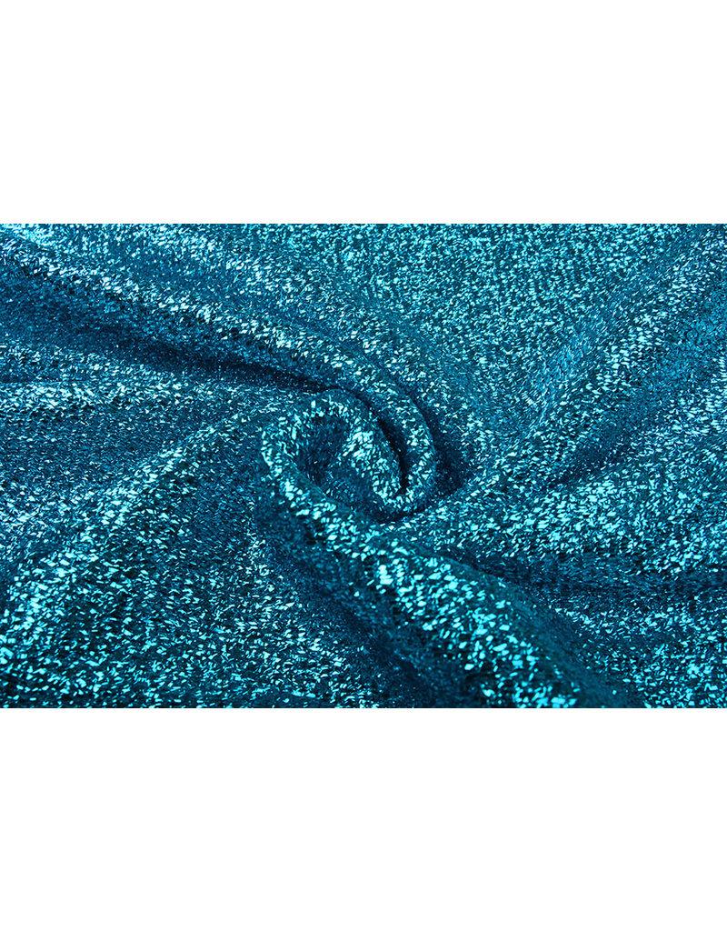 Knitted Glitter Metallic Aqua