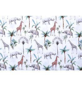 100% Cotton Tropical Elephant Giraffe