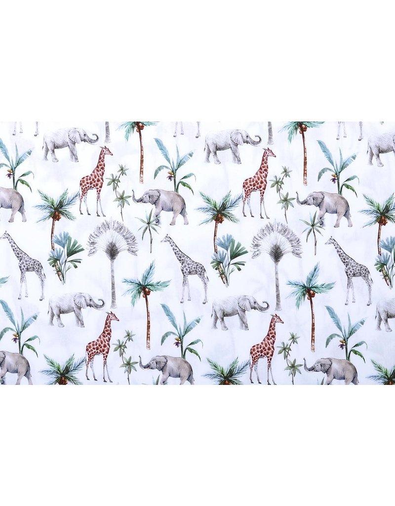 Stenzo 100% Baumwolle Tropische Elefant Giraffe