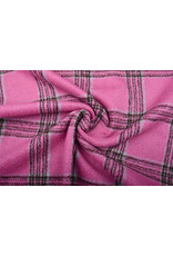 Geweven Wollen Stof Geruit Roze