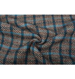 Gewebte WollStoff Karo Blau Multi