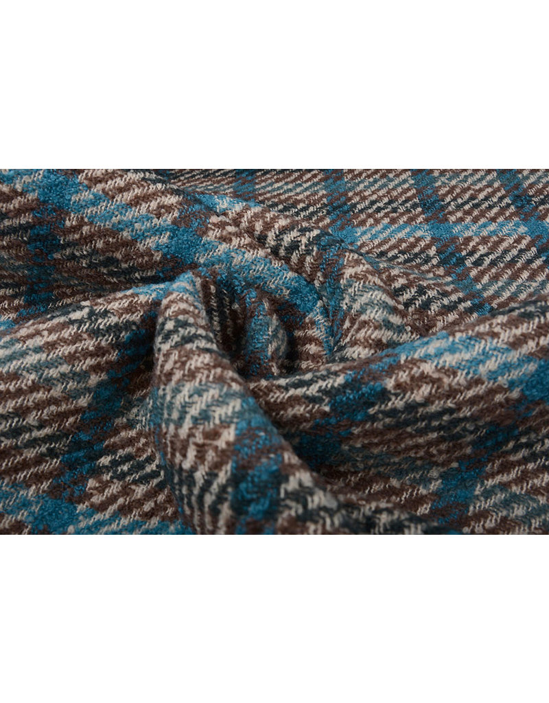 Geweven Wollen Stof Geruit Blauw Multi