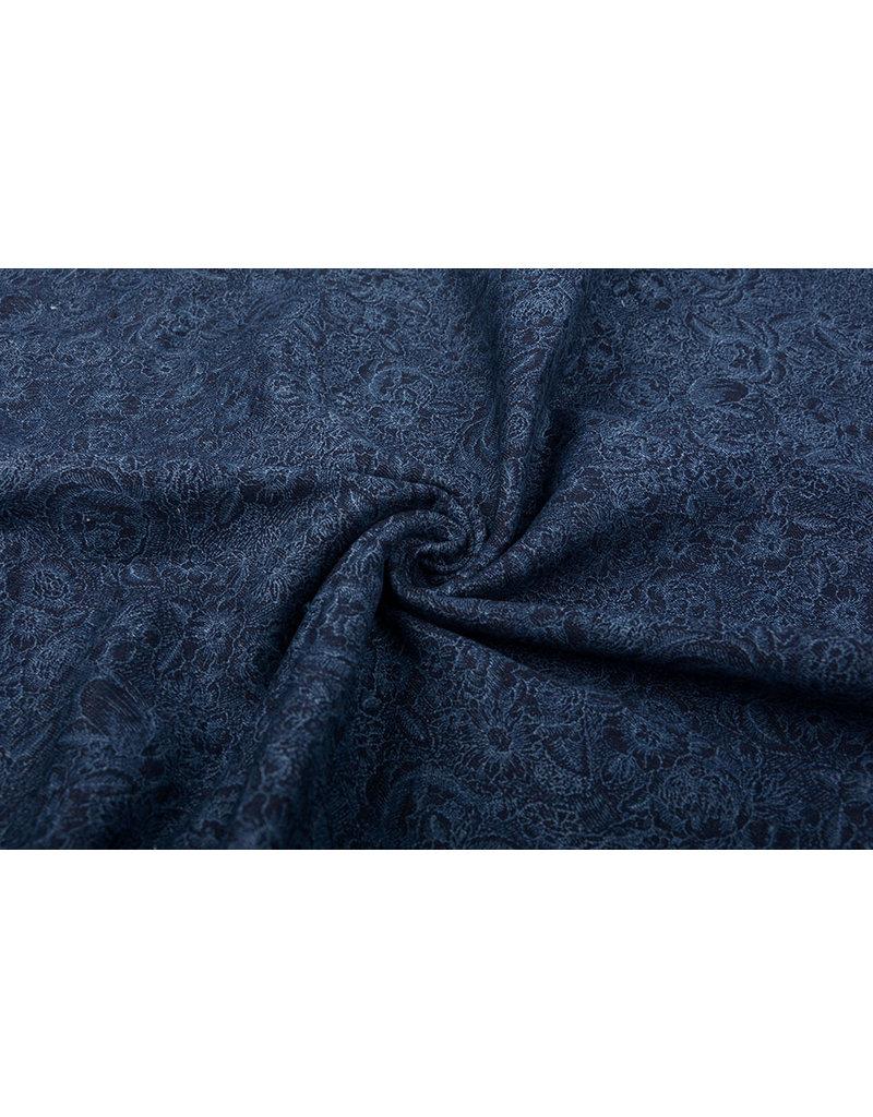 Jacquard Gewebte Baumwolle Dunkel Jeans