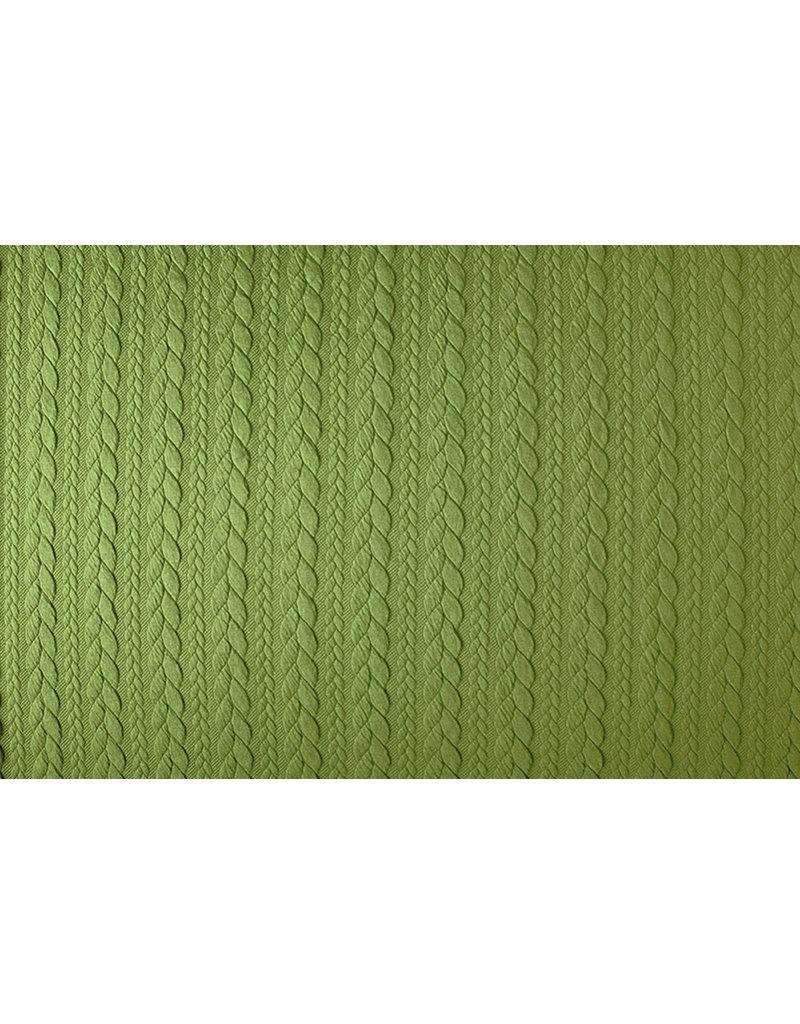 Gebreide Kabel Stof Tricot Lime