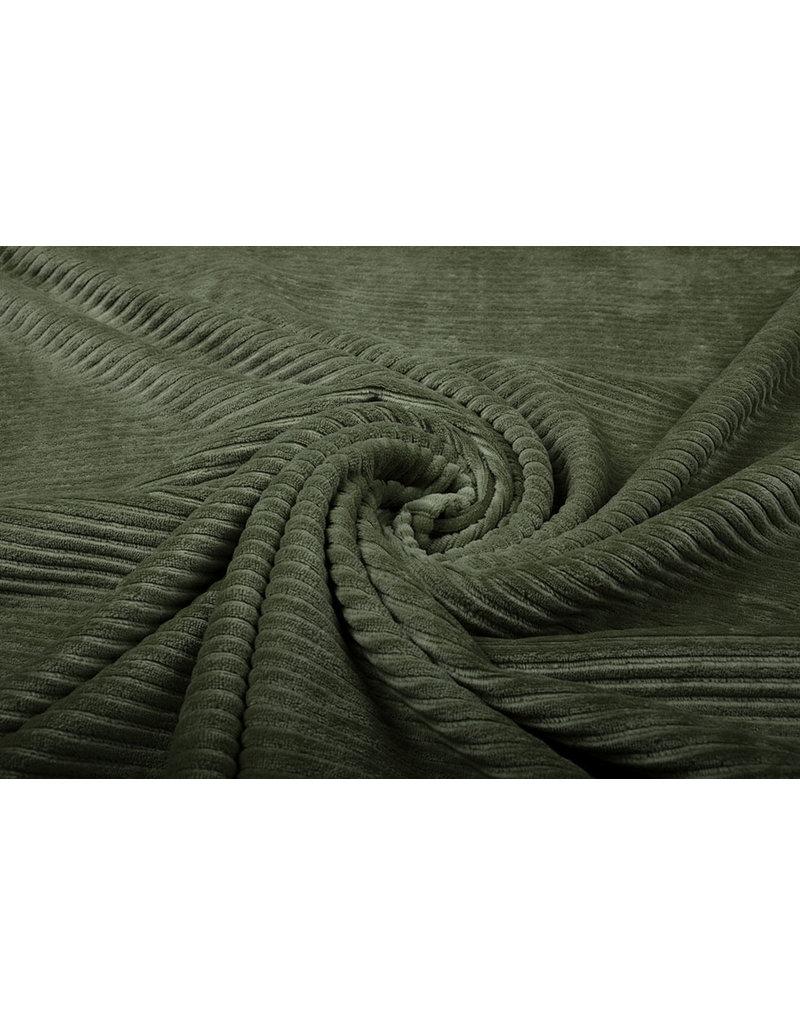 Baumwolle Trikot Cordstoff Breit Armeegrün