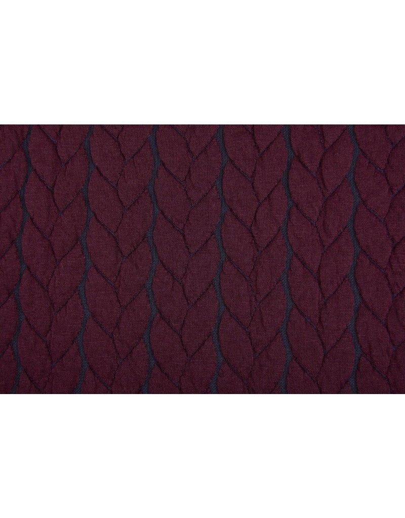 Multi Color Gebreide kabel stof tricot Bordeaux