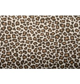 Cotton Jersey Panther Print Brown