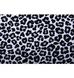 Cotton Jersey Panther Print White Grey