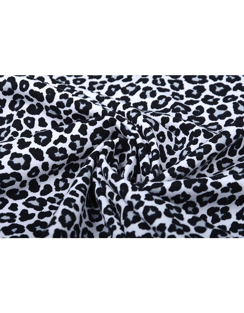 Cotton Jersey Panterprint Wit Grijs